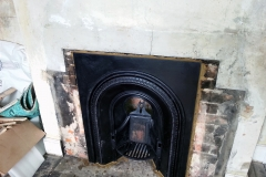 Cast iron fireplace in.